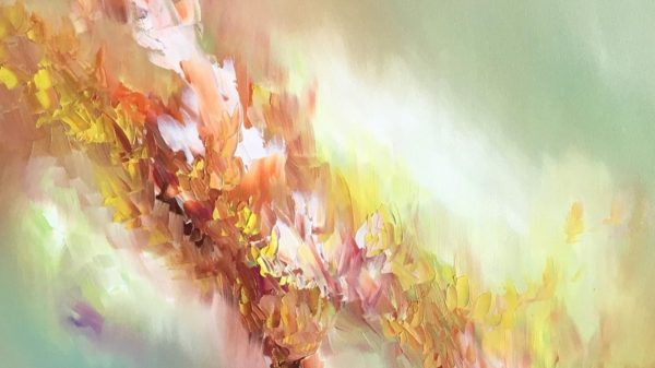 Portréty známých písní namalované umělkyní, která vhudbě vidí barvy