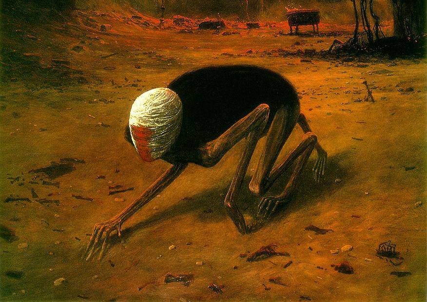 Děsivé surrealistické obrazy polského autora sprokletým osudem